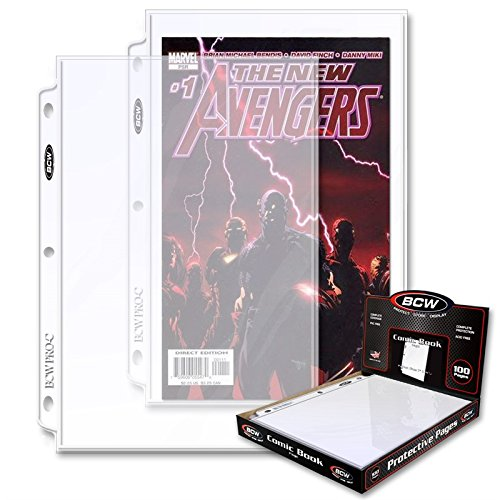 (500) BCW Current Size or Silver Age Polypropylene Comic Sleeves - Fits in 3-Ring Binders - BCW-PROC-100