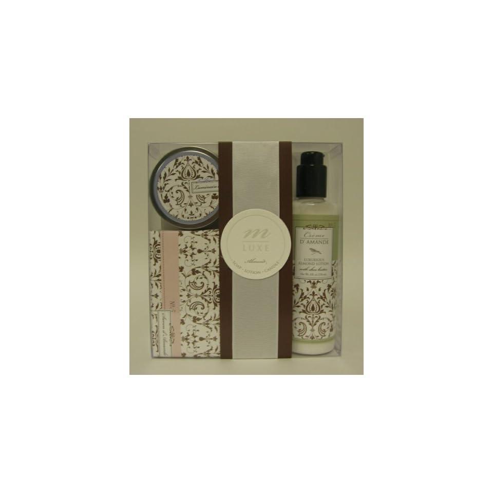 Mudlark Luminaire, Savon & Creme dAmande Gift Set Large Almond Soap, Shea Butter Lotion & Candle   Delphine
