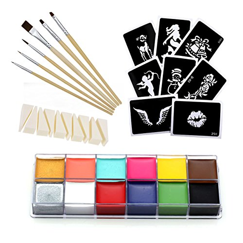 CCBeauty Professional Face Paint Oil 12 Colors Body Painting Art Party Fancy Make Up + Brushes Set,#1
