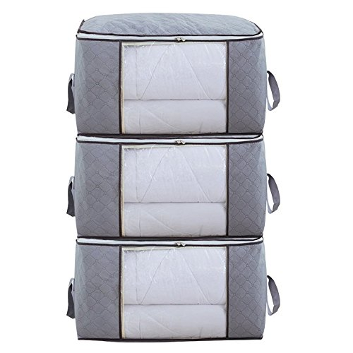 Yonfro Foldable Storage Bag Organizers, Storage Bags with Clear Window for Clothes, Blankets, Closets, Bedrooms 3Pcs