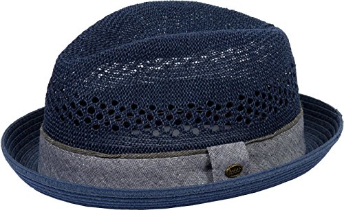 - DRY77 Porkpie Pork Pie Fedora Hat Trilby Cuban Cap Paper Straw Up Short Brim, Navy, L/XL
