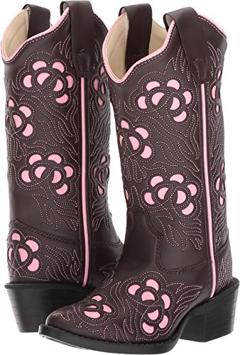 Old West Cowboy Boots Girls Inlay J Toe TPR 10 Child Brown Pink VJ9114