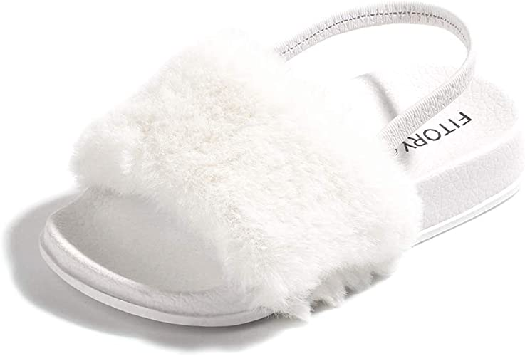 BiBeGoi Toddler Baby Girls Slippers Faux Fur Slides with Elastic Back Strap Flats Sandals Infant Crib Princess Dress First Walker Moccasins Shoes