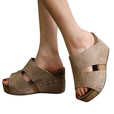 c0d740f3e2004 Women s Wedge Sandal Summer Beach Open Toe Cutout Rivet PU High Heel  Platform Pump Sandals (