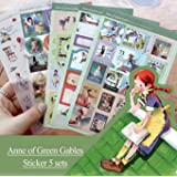 5 Sheets Deco Craft Stickers Diary Paper Sticker Scrapbooking Gift (Anne of Green Gables)