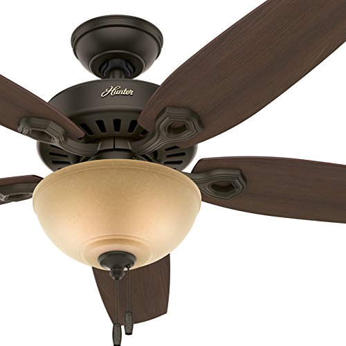 Hunter Fan 52in Traditional Brushed Nickel Ceiling Fan with Cased White Glass Light Kit, 5 Blade Renewed New Bronze
