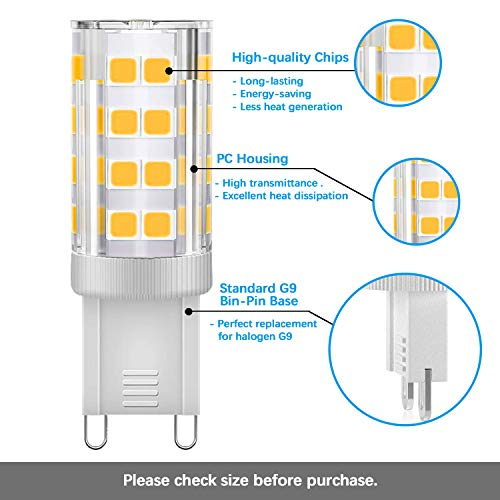 KINDEEP G9 LED Bulb Dimmable 4W, 40W Equivalent, 400LM Warm White 3000K, AC 110V 120V, G9 Ceramic Base No-Flicker, 360 Degree Beam Angle for Chandelier Lighting 400LM(5 Pack)