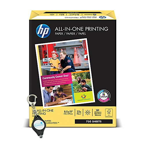 All-In-One Printing Paper with 96 Brightness, 22-lb. Letter, 750 ct. White bundle with a Lumintrail Keychain Light (Hp All In One Printing Paper 22 Lb)