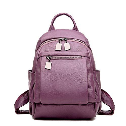 Bolso De Cuero Suave Del Recorrido De La PU De La Hembra Del Bolso De Hombro De La Mochila De Las Mujeres De La Manera,23*11*32cm-Red Purple