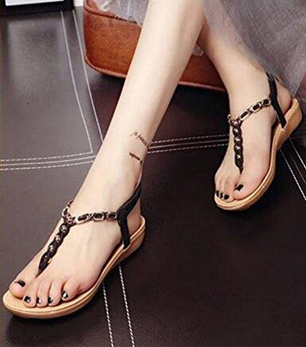 Yiiquan Mujer Sandalias Verano Bohemia Clip Dedo Del Pie Sandalias Con Cuentas Zapatos de Playa Estilo1 Negro