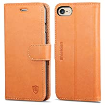 iPhone 6S Case, iPhone 6 Case, SHIELDON Genuine Leather Wallet Case, Flip Book Style Cover with Stand Function, Cards Slots, Magnetic Clasp [Lifetime Warranty] for iPhone6S / iPhone6 (4.7 inch), Tan Brown