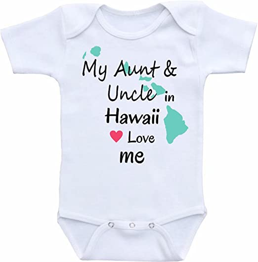 ec35afa92 Promini Funny My Aunt Uncle in Hawaii Love me Baby Bodysuit Cute Infant  One-Piece