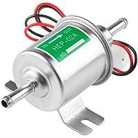 Universal Automotive modificado HEP-02A 12 V Heavy Duty Metal eléctrica bomba de combustible para gasolina y diesel (Plata)