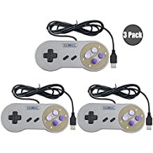 Exlene® 3 Pack Retro USB SNES Super Nintendo Game Controller Gamepad Joystick for Windows PC/MAC(Grey)