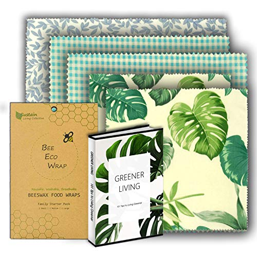 Beeswax Wraps Reusable Food and storage Wraps Plastic Free Eco-Friendly Assorted 5 pack 2xSmall 2xMedium 1xLarge by Bee Eco Wraps (Wrap Eco)