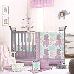 Little Peanut Lilac Purple and Gold Elephants 5 Piece Baby Crib Bedding Set for girls by The Peanut Shell