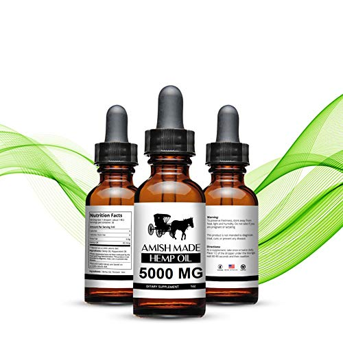 5000mg Amish Made Hemp Oil for Pain, Anxiety & Stress Relief – 5000mg of Pure Hemp Extract – Grown & Made in USA – 100…