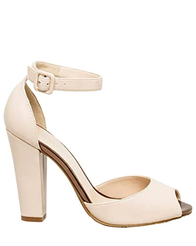 8ce29c7d5 Amazon.com | LE CHÂTEAU High Block Heel Ankle Strap Peep Toe Sandal, 9, Nude  | Heeled Sandals