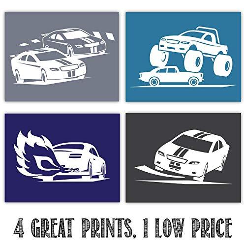- Race Cars - Set of Four Prints (11x14) Unframed - Makes a Great Boy's Room Wall Art Decor Under $25