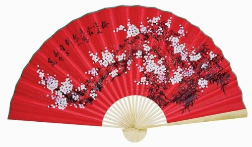"""Classic 35"""" Oriental Feng Shui Wall Fan-Red flowers"""