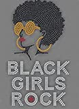 Afro Girls Rock #2 Rhinestone Iron on T Shirt Transfer