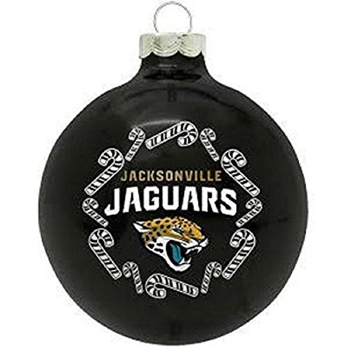 Jacksonville Jaguars NFL Round Candy Cane Christmas Ornament