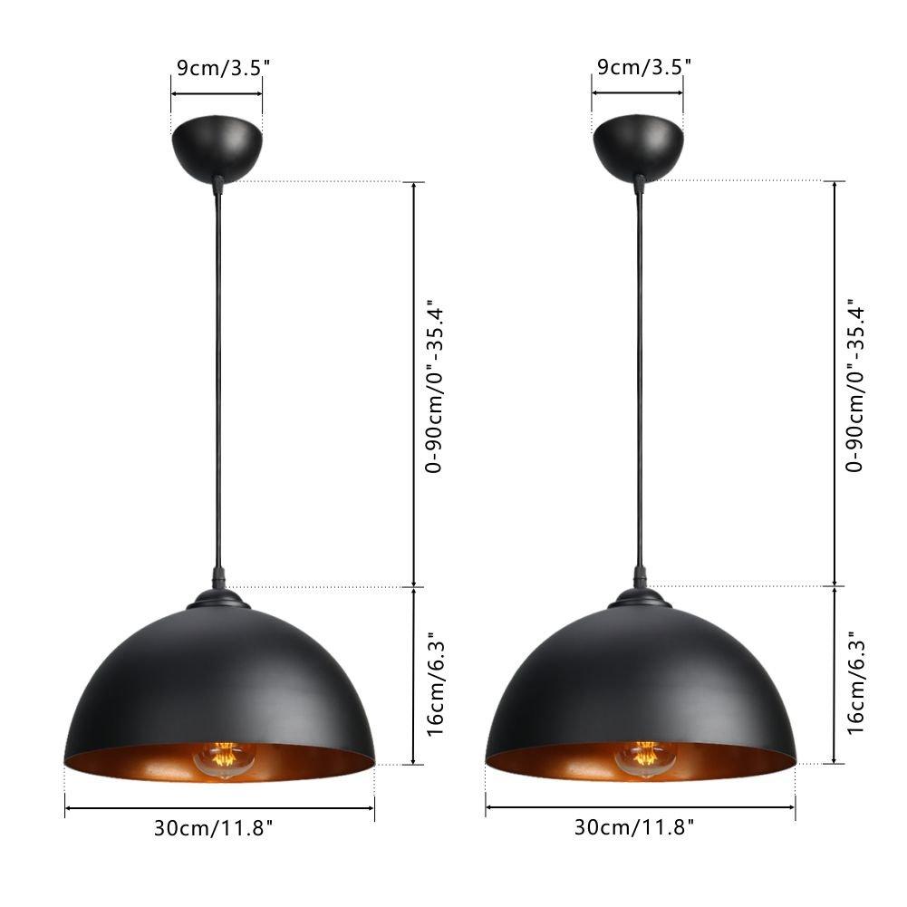Farbe:Schwarz CCLIFE 2er Industrielle Pendelleuchte H/ängeleuchte Metall Schwarz//Wei/ß