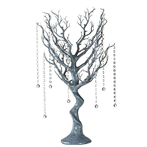 "Efavormart 30"" Tall Glitter Silver Manzanita Tree Centerpiece for Wedding Centerpiece Table Top Decoration W/LED Lights (Battery)"