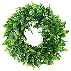 ElaDeco 10″ Faux Boxwood Wreath Artificial Green Leaves Wreath for Front Door Wall Hanging Window Wedding Party Decoration