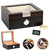 COMMODA Desktop Cigar Humidor Tempered Glasstop Front Mounted Hygrometer Humidifier, Cedar Lined Storage Box Holds 25-50 Cigars Free Digital Humidity Thermometer Cutter Stand (Ebony)