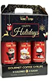 Jordans Skinny Syrups Happy Holidays Gourmet Coffee Syrups - Variety Pack of 3 - Salted Caramel, White Chocolate, Peppermint Bark