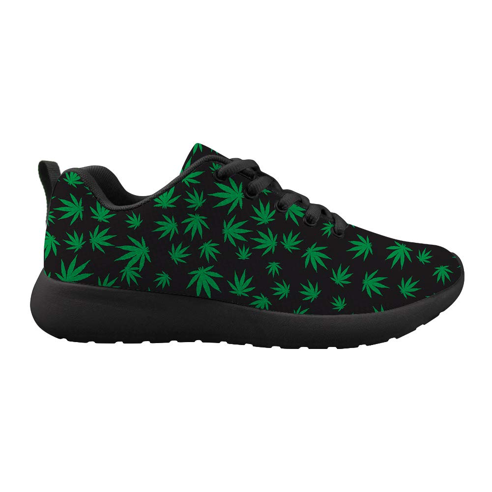 Owaheson Cushioning Sneaker Trail Running Shoe Mens Womens Weed Marijuana Leaves