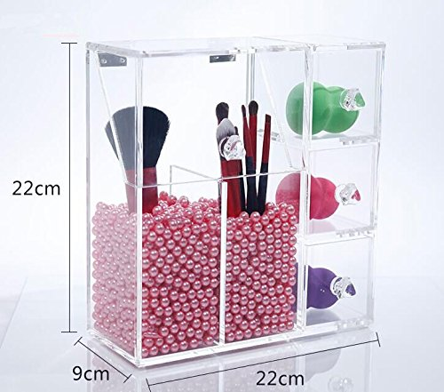 Ldbby Makeup Brush Holder, Acrylic Makeup Organizer with 2 Brush Holders and 3 Drawers Dustproof Box with Free Pink Pearl