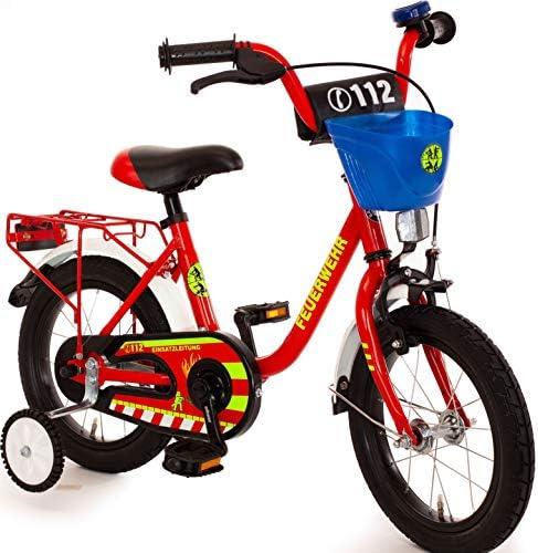 Unbekannt Kinderfahrrad 12 Zoll mit Stützräder und Rücktrittbremse Jungen Mädchen sam Fahrrad für Kinder ab 3 Jahren Feuerwehr Feuerwehrfahrrad Feuerwehrmann