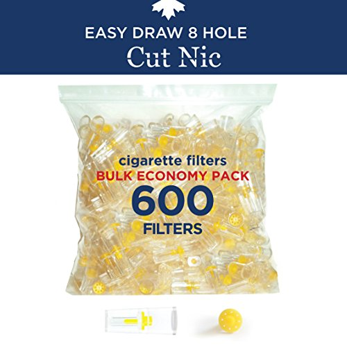 Cut-Nic 8 HOLE EASY DRAW Disposable Cigarette Filters - Bulk Economy Pack (600 Per Pack) (Best Disposable Cigarette Filters)