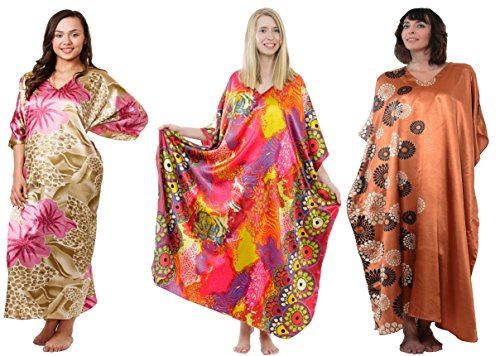 Satin Charmeuse Caftans Value Pack of 3 Pretty Prints Caftans, Special#15 -