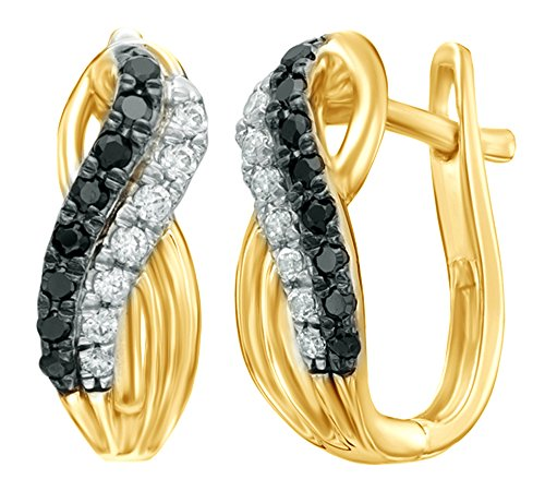 Black & White Natural Diamond Double Row Overlay Hoop Earrings in 10k Solid Yellow Gold (0.33 (14k Gold Overlay Hoop Earrings)