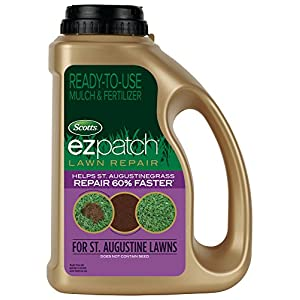 Scotts EZ Patch Lawn Repair For St. Augustine Lawns - 3.75 lb., Ready-to-use Mulch, and Fertilizer Lawn Repair, Repairs St. Augustinegrass, Does Not Contain Grass Seeds, Covers up to 85 sq. ft.