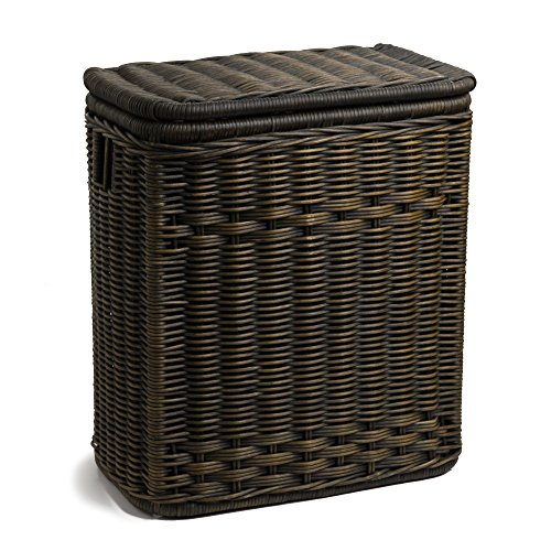 The Basket Lady Narrow Wicker Rectangular Laundry Hamper | Clothes Hamper, One Size, Antique Walnut Brown by The Basket Lady