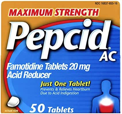 Pepcid AC Maximum Strength with 20 mg Famotidine for All-Day Heartburn Prevention & Relief, 50 ct.