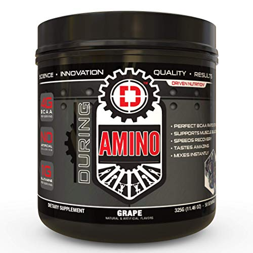 Driven Amino-BCAA Enhanced with Glutamine- Aids in Muscle Recovery, Increase Muscle Protein Synthesis, and Improve Lean Body Mass-Perfect 2:1:1 BCAA Ratio (Grape)