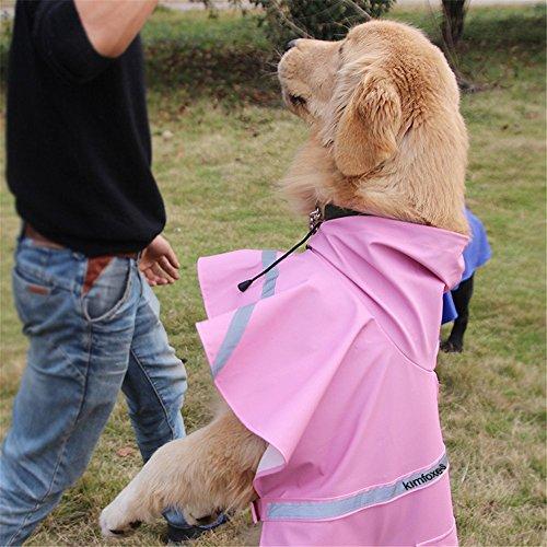 Kimfoxes Dog Raincoats Fashion Dog Rain Poncho Reflective Strips and PU Waterproof Raincoat for Dogs(M,Pink) by Kimfoxes (Image #4)
