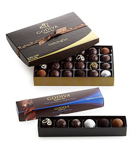 Box Dark Chocolate Truffles - Godiva Chocolatier Dark Chocolate Truffle Lover's Holiday Gift Set, Great for Any Gifting Occasion