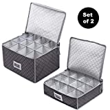 Set of 2 Cups & Glasses Storage Case - #1 Best Protection Stemware Chest for Storing or Transporting Coffee Cups, Mugs, Wine & Champagne Flutes, Goblets, and More