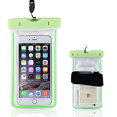 Waterproof Case, Universal Luminous Waterproof Bag Pouch with Armband for Iphone Samsung Galaxy Samsung Note, all phone up to 6.0