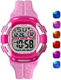 Digital Watch Grils 7-color Flashing Light Water Resistant 100FT Alarm Watch for Kid age 4-12 (pink)