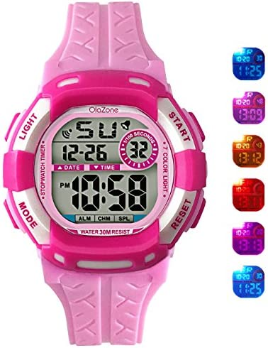 [Sponsored] Digital Watch Grils 7-color Flashing Light Water Resistant 100FT Alarm Watch for Kid age 4-12 (pink)