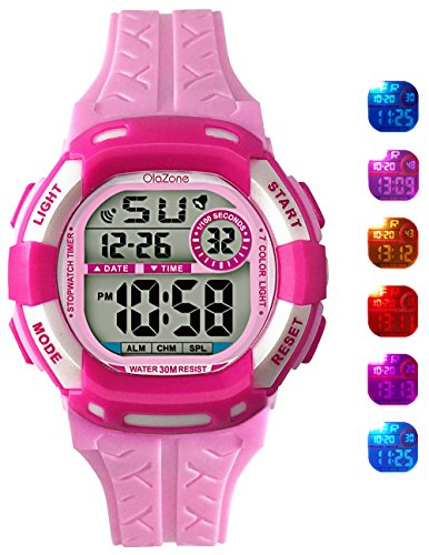 Price comparison product image Digital Watch Grils 7-color Flashing Light Water Resistant 100FT Alarm Watch for Kid age 4-12 (pink)