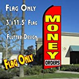 MONEY ORDERS (Red) Flutter Feather Banner Flag (11.5 x 3 Feet)