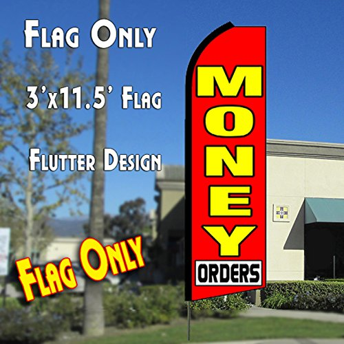 MONEY ORDERS (Red) Flutter Feather Banner Flag (11.5 x 3 Feet) by Vista Flags